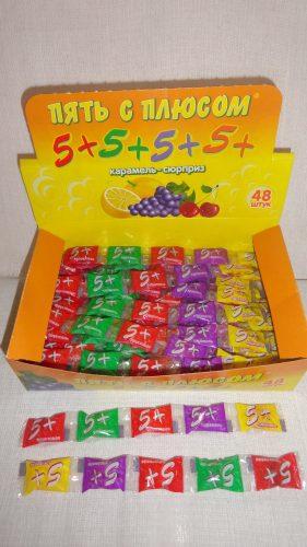 Леденцы «Пять с плюсом — 5+», карамель-сурприз, 5шт. в упаковке
