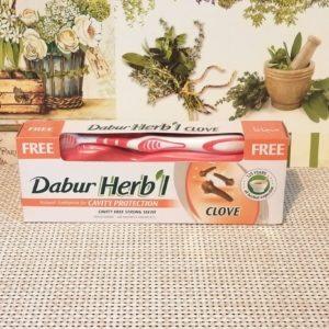 Зубная паста Dabur Herb'l (Дабур Хербл) с гвоздикой, 150гр + щетка