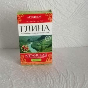 Глина LutumTherapia зеленая алтайская с экстрактом шиповника для лица и тела, 100гр